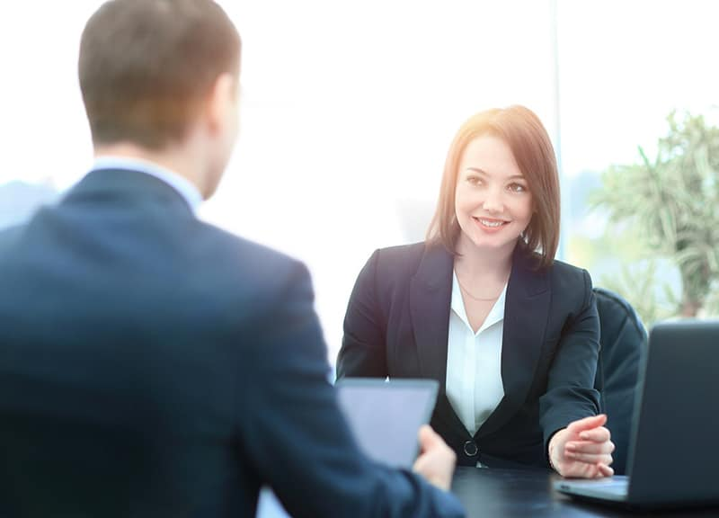 Person having an interview with executive headhunter firm