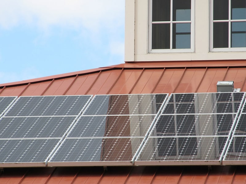solar panels on building rooftop