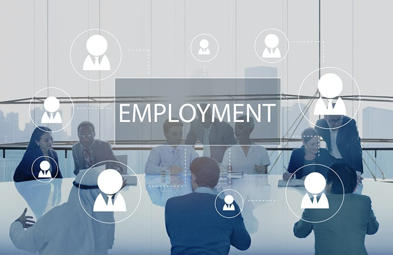 Business meeting to discuss employment strategy for hiring the right employees