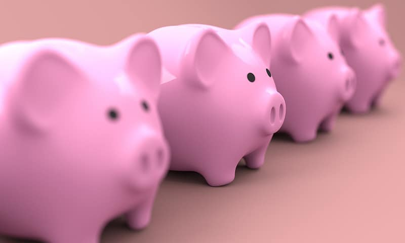 Finance business money illustration – pink piggy banks in a row