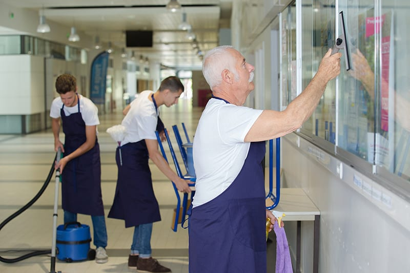 outsourced janitorial services in a business workplace