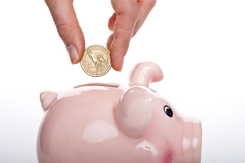 saving money – person putting dollar coin into piggy bank - investing