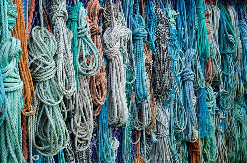 colourful ropes, knots, beachcobing found rope and twine