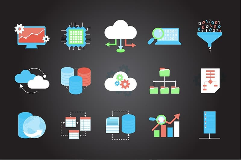 Illustrations - technology icons internet symbols cloud computing
