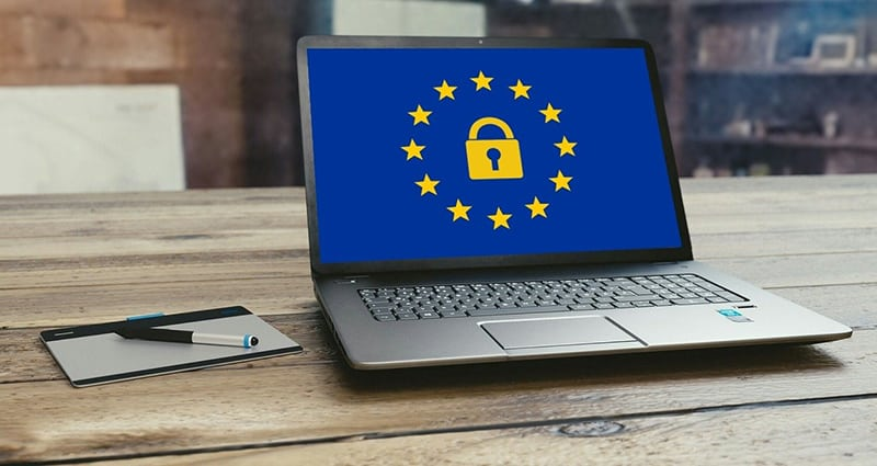Padlock and stars on laptop screen representing GDPR data security