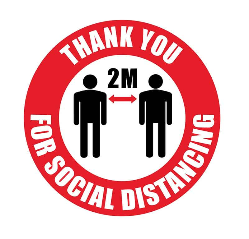 Thank you for social distancing - 2M between people - sign