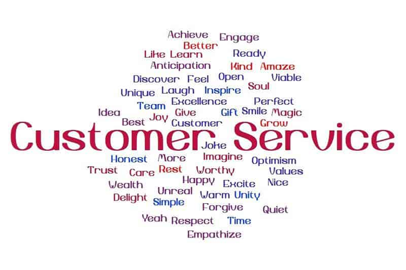 Word cloud identifying good customer service