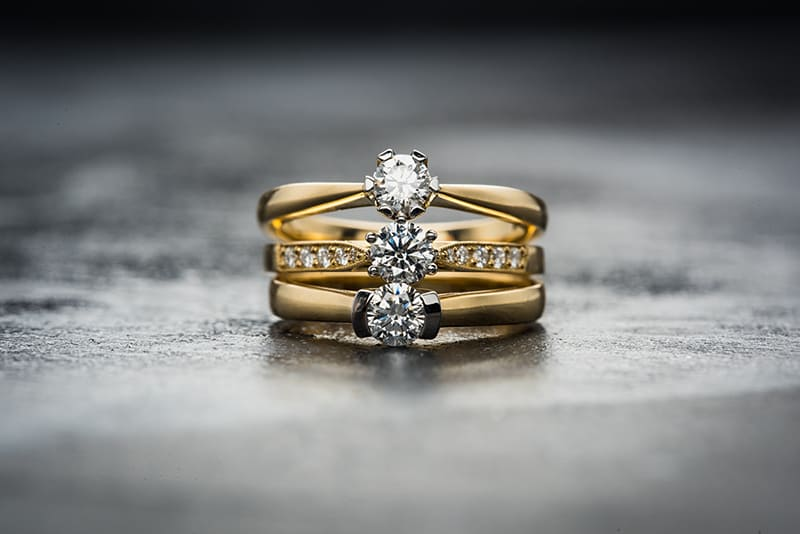 Jewelry, gold and diamond rings, jewellery