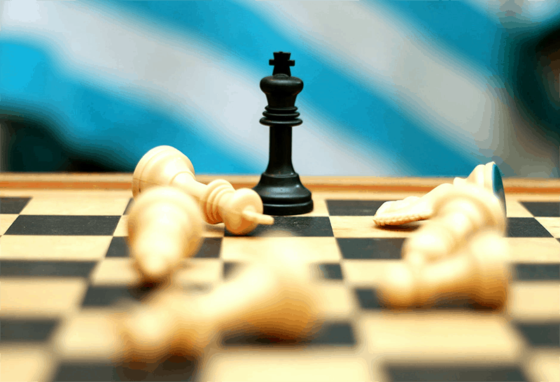 Chess peices on a chess board