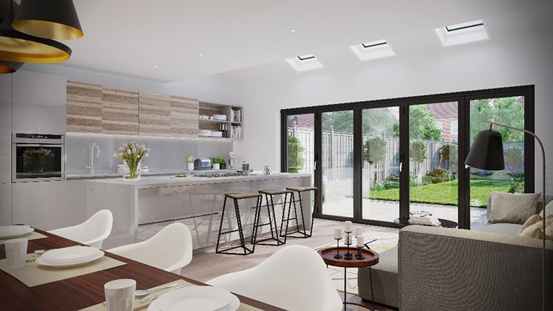Bright open plan room with lots of natural daylight and sunlight coming through bi-fold doors