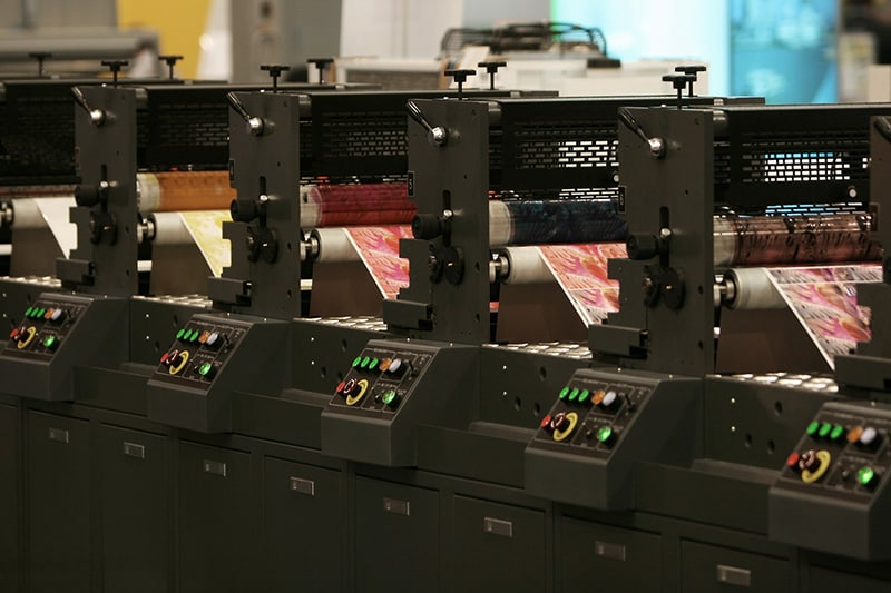 Printing machine in the production area