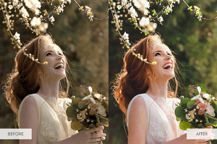 Wedding Portrait Lightroom Presets-Before and After