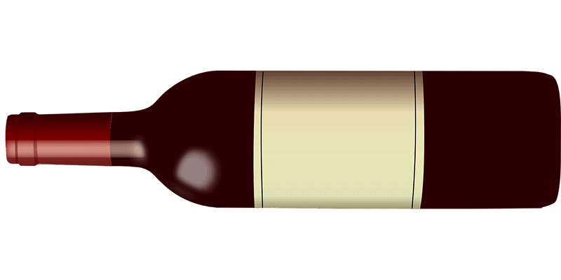 Horizontal image of brown bottle with white label