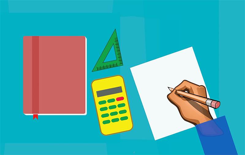 Illustraion of someone writing on sheet of paper next to calculator, set square and notebook