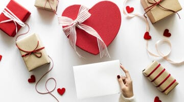 wrapped gifts for Valentine's