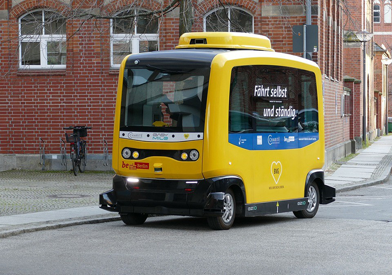 Yellow autonomous vehicle - self driving car