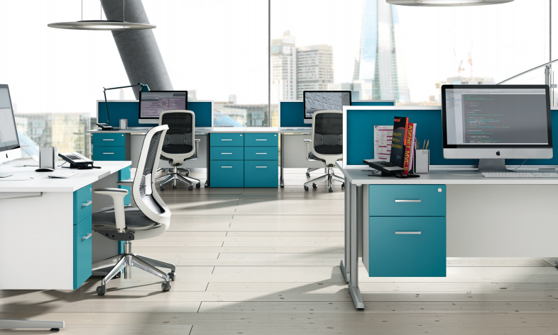 An organize workplace with blue drawers and desktops