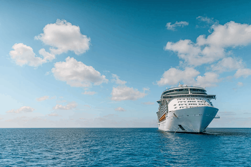 Cruise ship on open water