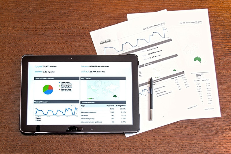 A tablet screen and hard copies of document showing business graph statistics