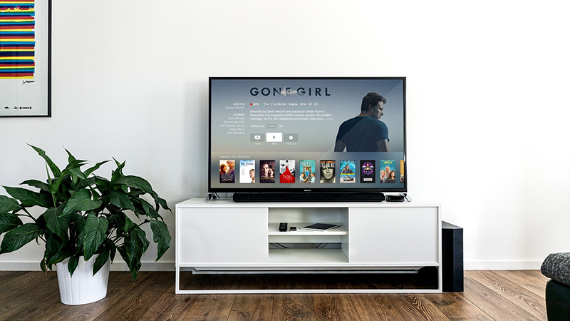 A tv screen with streaming service