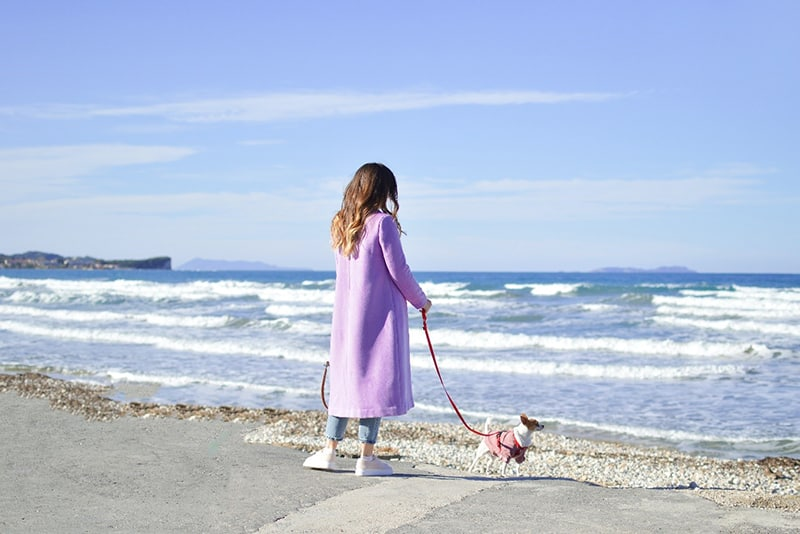 Woman in long pink coat taking dog for a walk on the beach