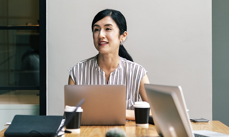 Japanese woman in a business meeting