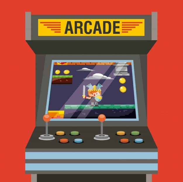 Illustration of retro arcade game in arcade cabinet with joystick controls