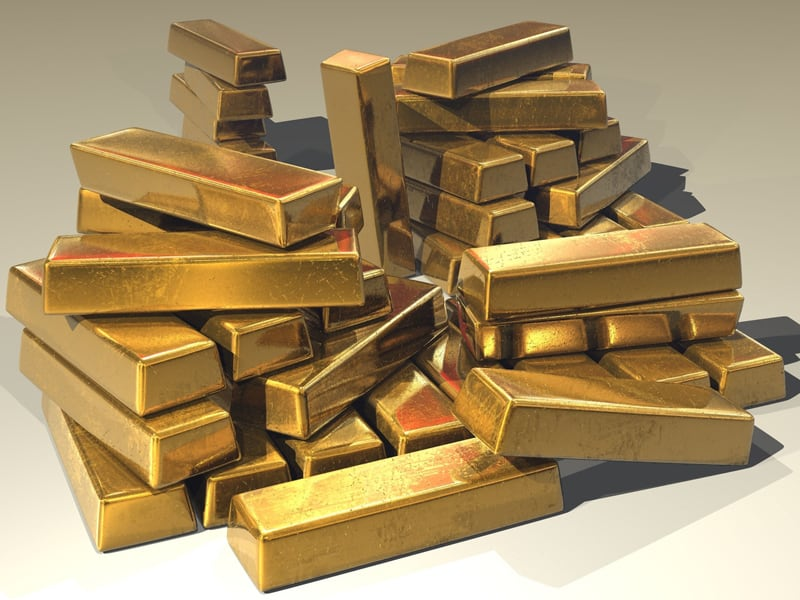 Yellow metal - stack of gold blocks - gold bullion- gold bars