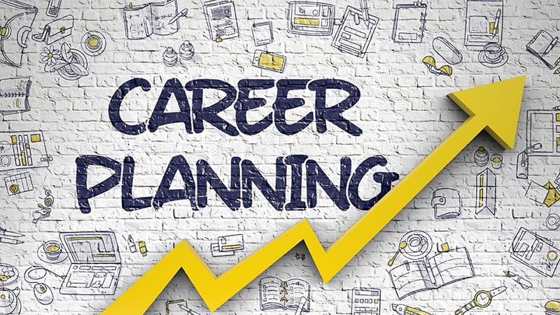Arrow under the word career planning - representing career growth