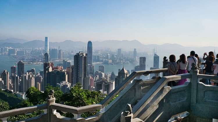 A group of people view observation in Hong Kong