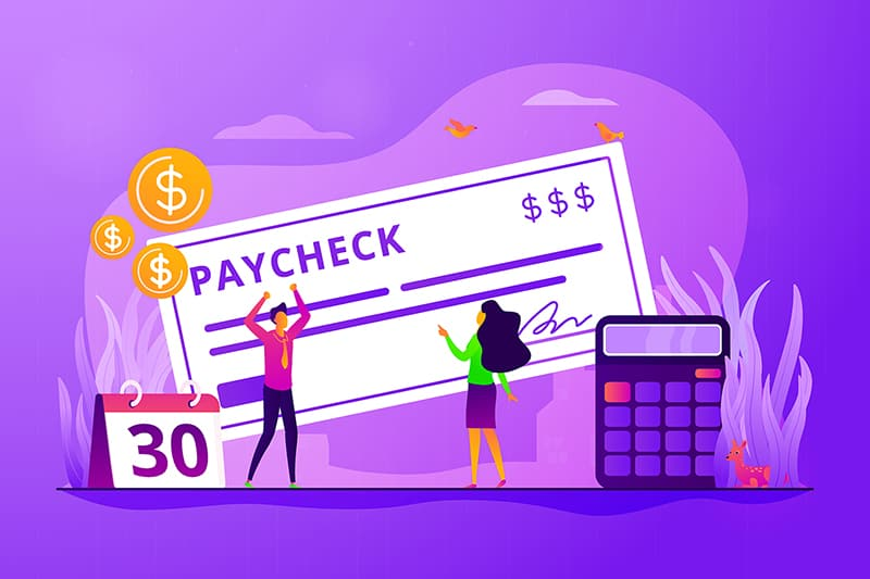 Illustration of a paycheck next to pay date and calculator - happy person because it is pay day.