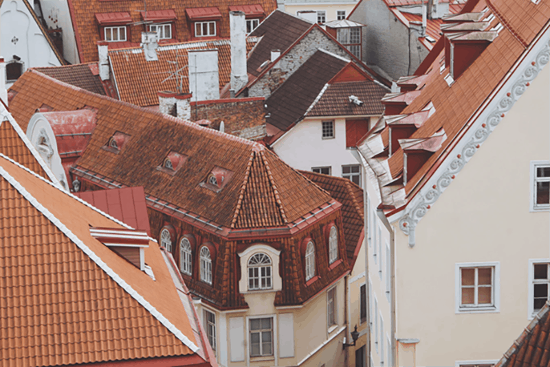 Red rooftop of houses