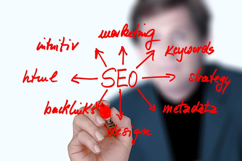 An SEO illustration with blurd image of a man
