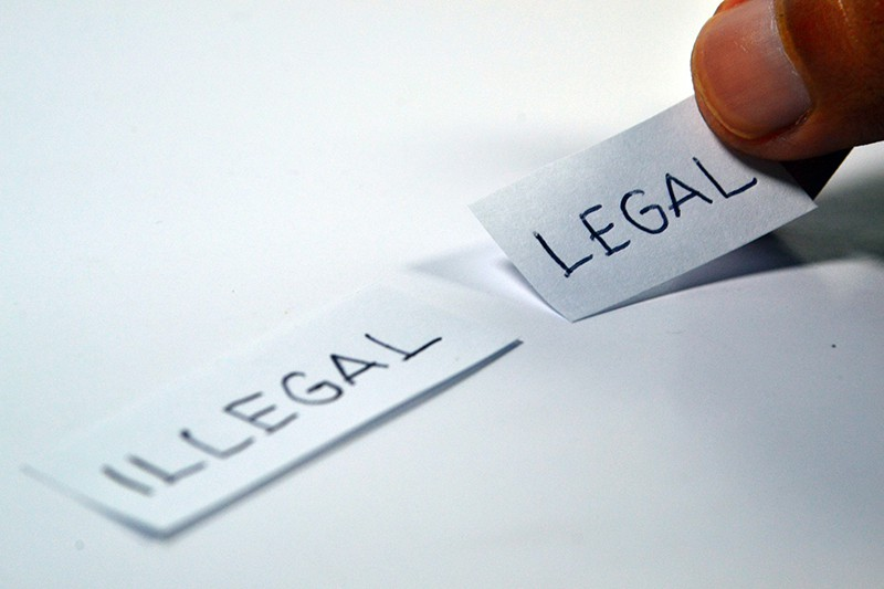 Illegal and legal text in a piece of paper