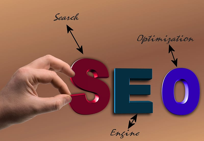 Seo illustrations and a hand of the person
