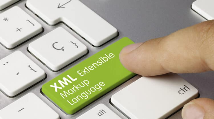 Keyboard with green XML Extensible markup language key