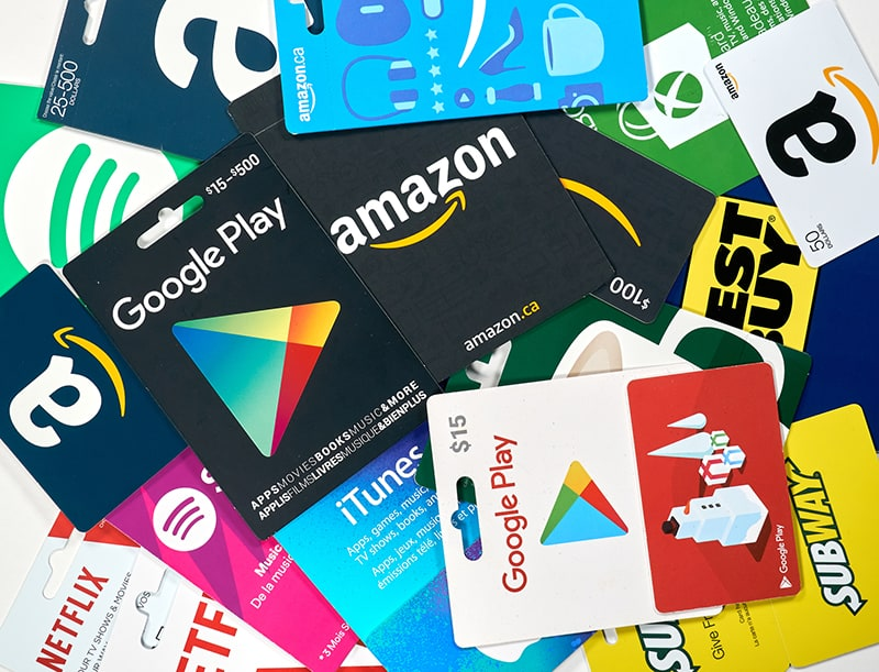 Multiple plastic gift cards from retail establishements