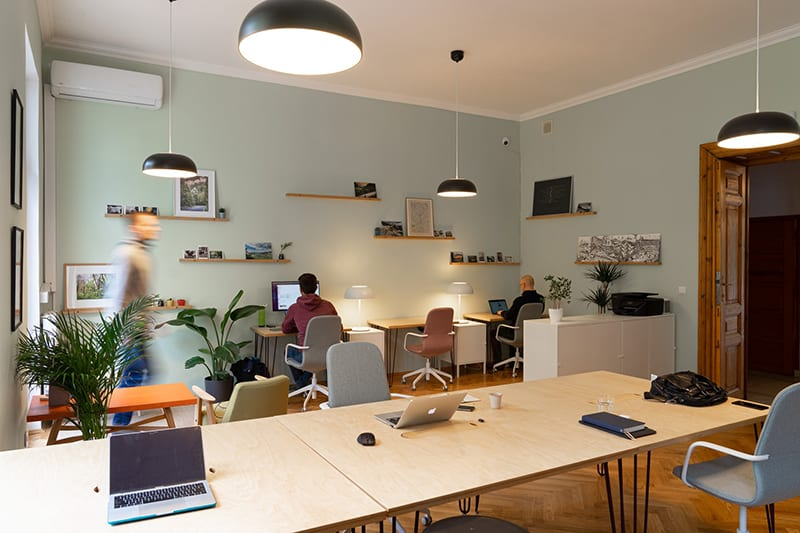 People working in a coworking space