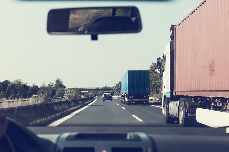 driver on the highway - view from windscreen - trucks