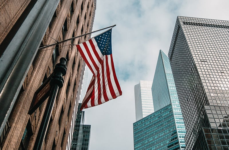 American Flag on business building in New York USA