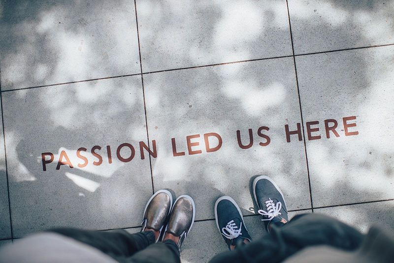 Shoes feet selfie with passion word text