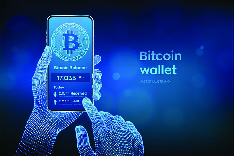 Bitcoin wallet interface on smartphone screen