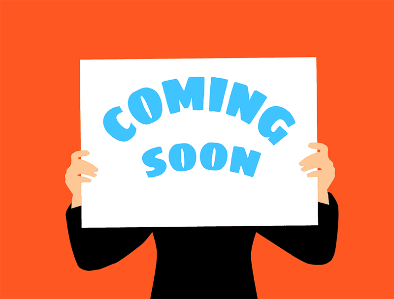 Coming soon word sign in illustration