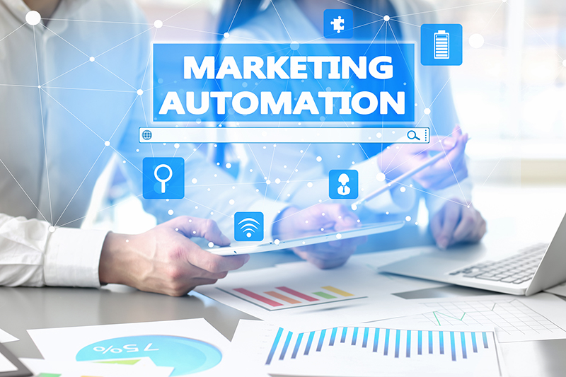 Business people working in office. Concept of marketing automation