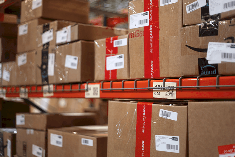 parcels ready to be shipped using freight forwarding shipping service by comGateway