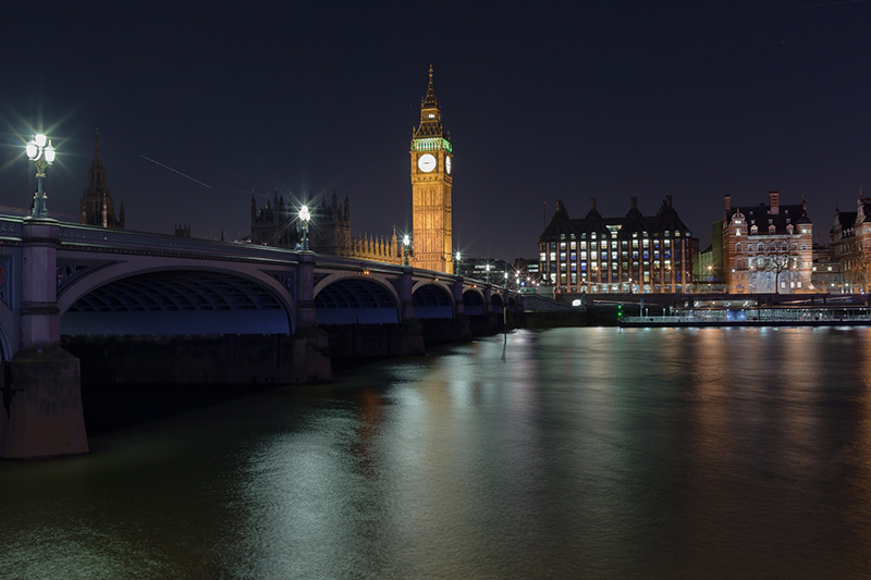 View of Big Ben and Houses of Parliament, River Thames, Westminster, London