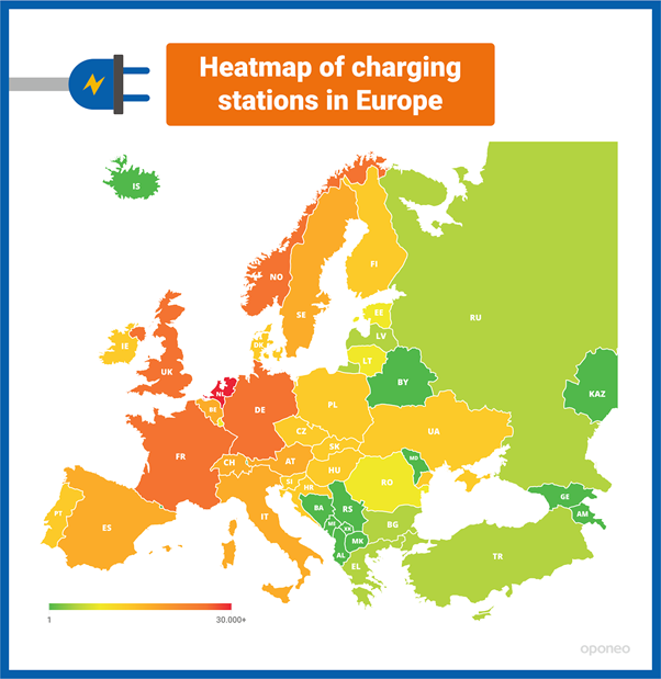Heatmap of charging station in Europe
