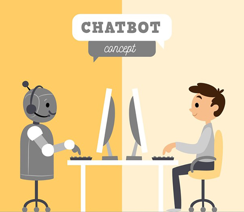Chatbot concept with robot boy
