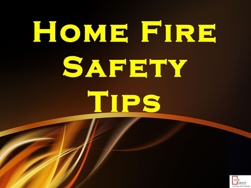 Home Fire Safety Tips and fire background
