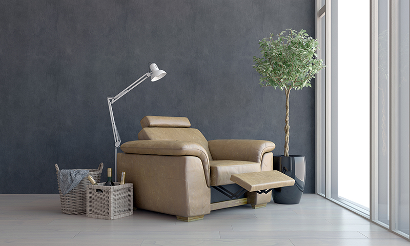 Comfortable brown leather recliner chair placed facing a view window with modern anglepoise lamp and wine bottles in a basket alongside. 3d Rendering.